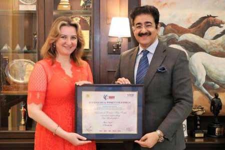 Sandeep Marwah Presented IWFF Membership to Oksana